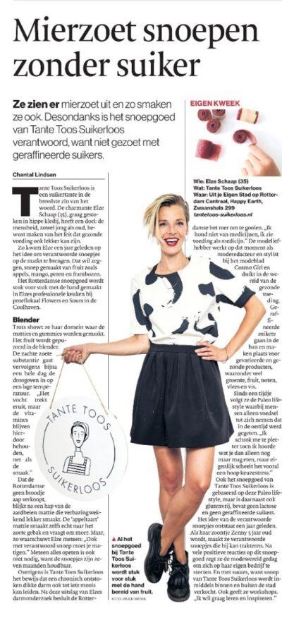 Tante Toos Suikerloos in het AD Rotterdams Dagblad